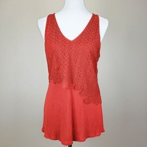 Anthro Deletta Rust Red Crochet Lace Overlay Tank